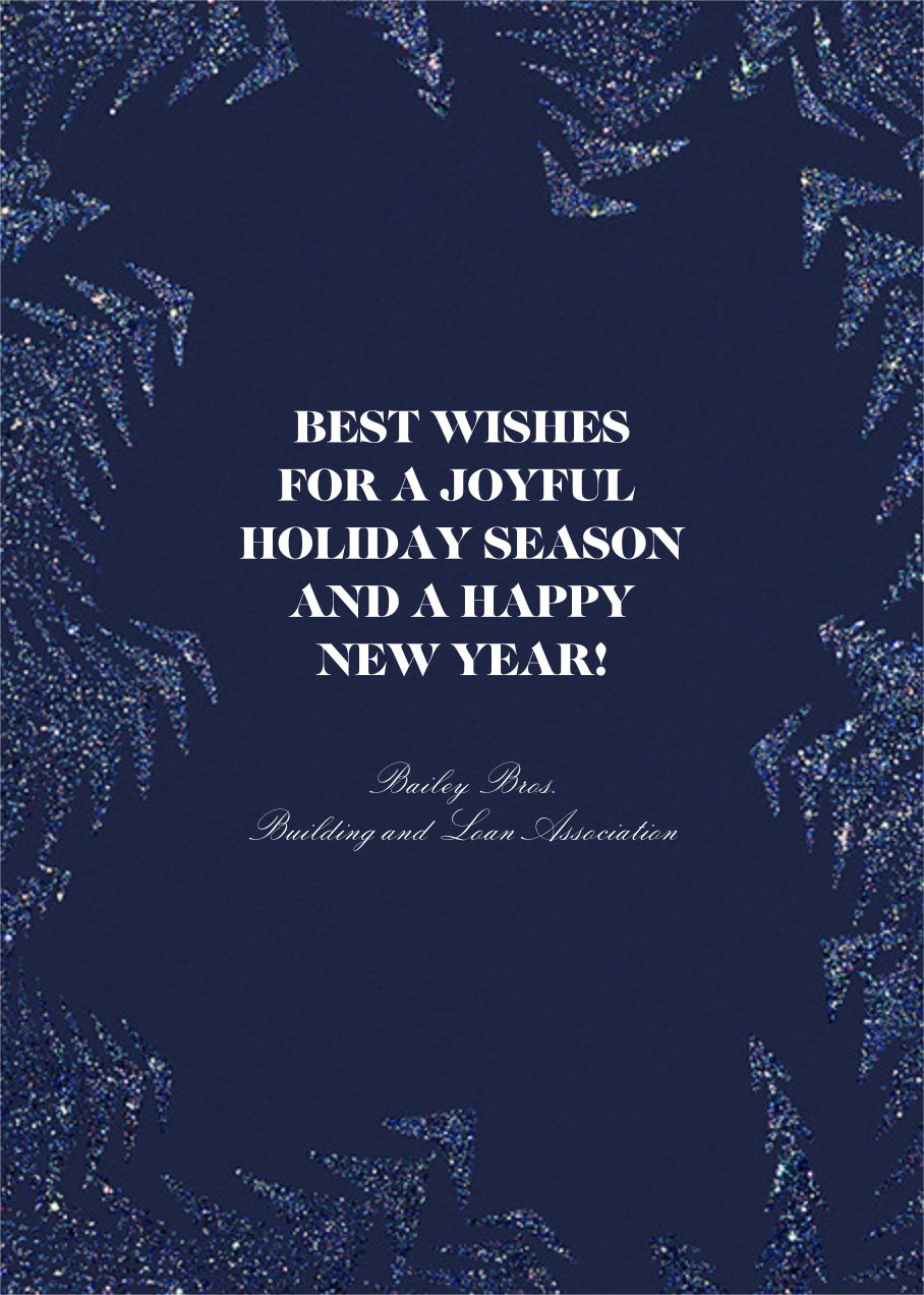 Crystal Pines (Greeting) - Dark Blue - Paperless Post - Holiday cards - card back