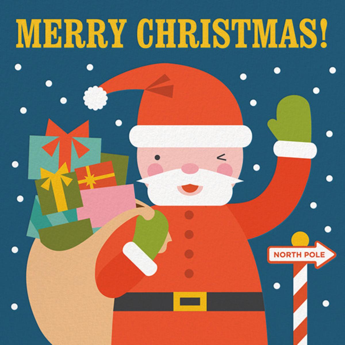 Winking Santa - Fair - Petit Collage - Holiday cards