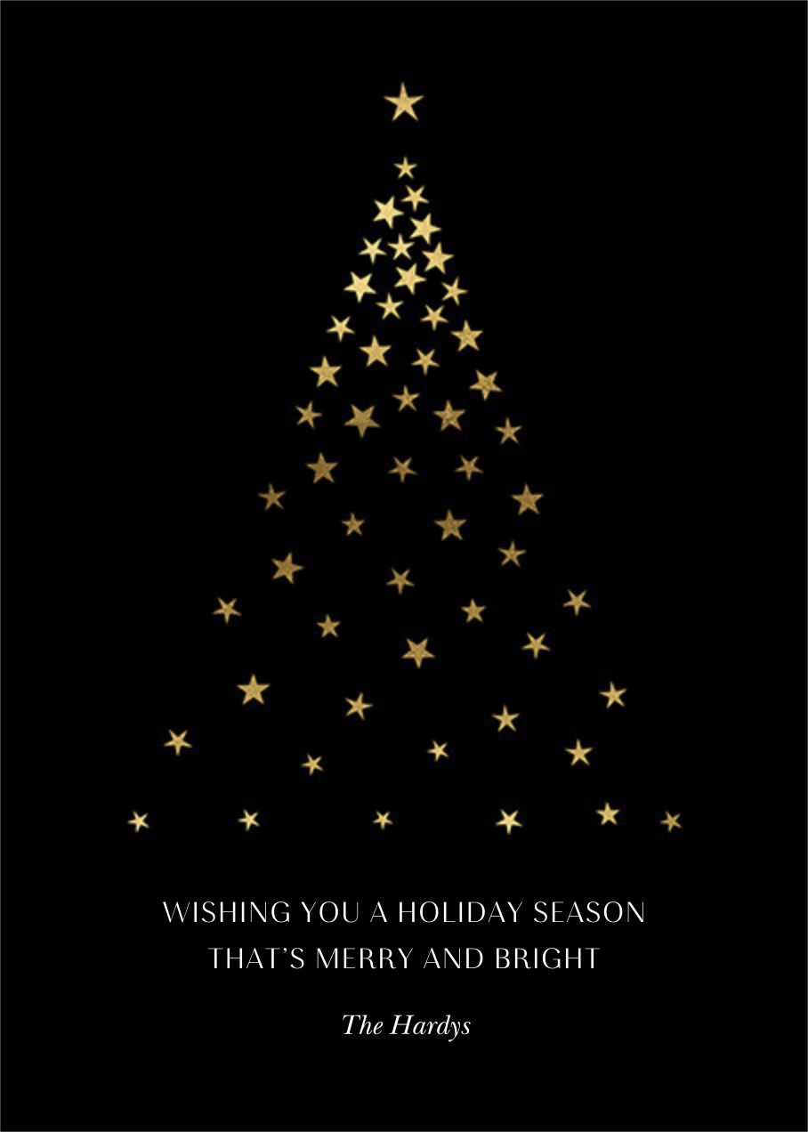 Starry Tree - Black - Paperless Post - Holiday cards