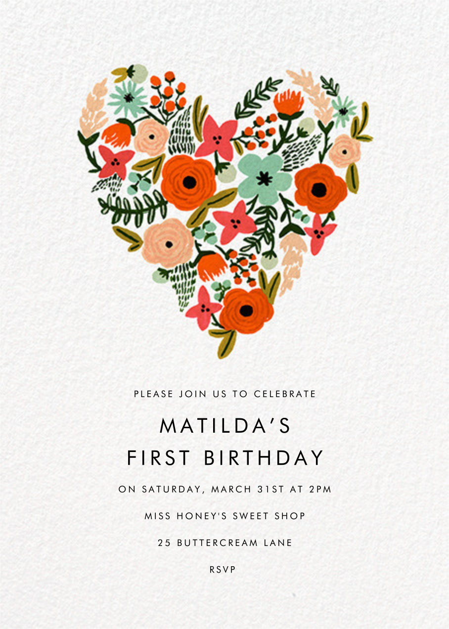 Floral Heart - Rifle Paper Co. - 1st birthday
