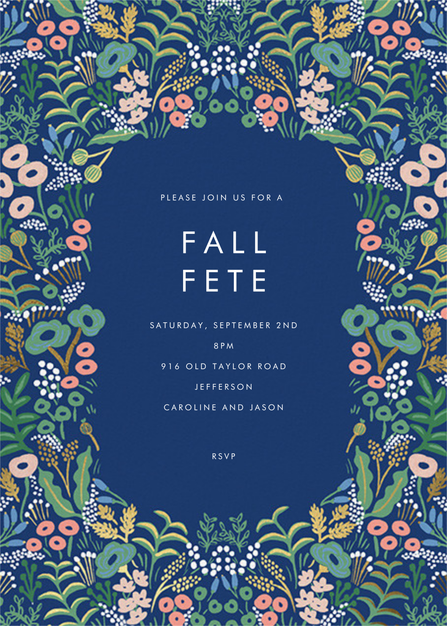 Floral Tapestry - Lapis - Rifle Paper Co. - Autumn entertaining