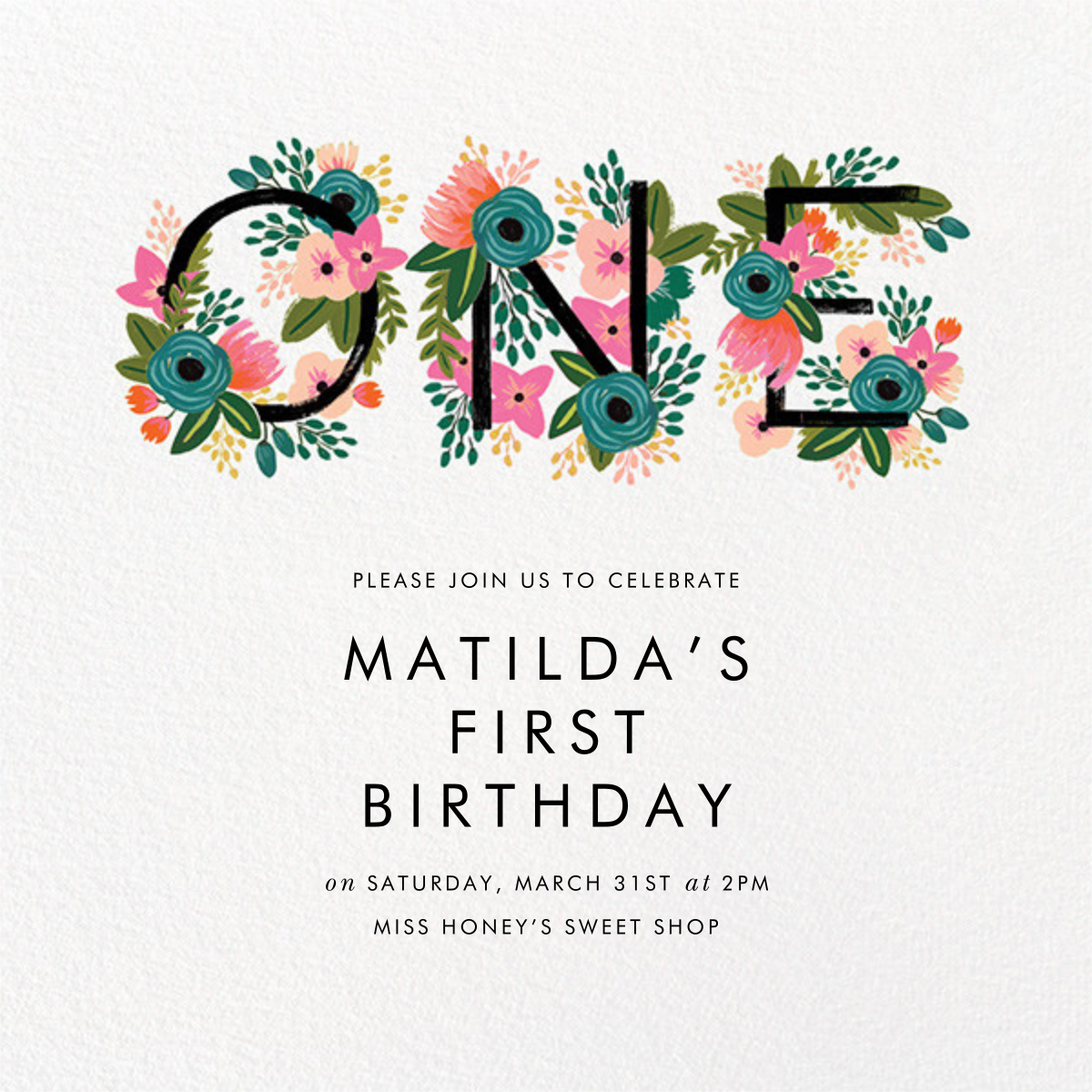 One Blooming Birthday - White - Rifle Paper Co. - 1st birthday