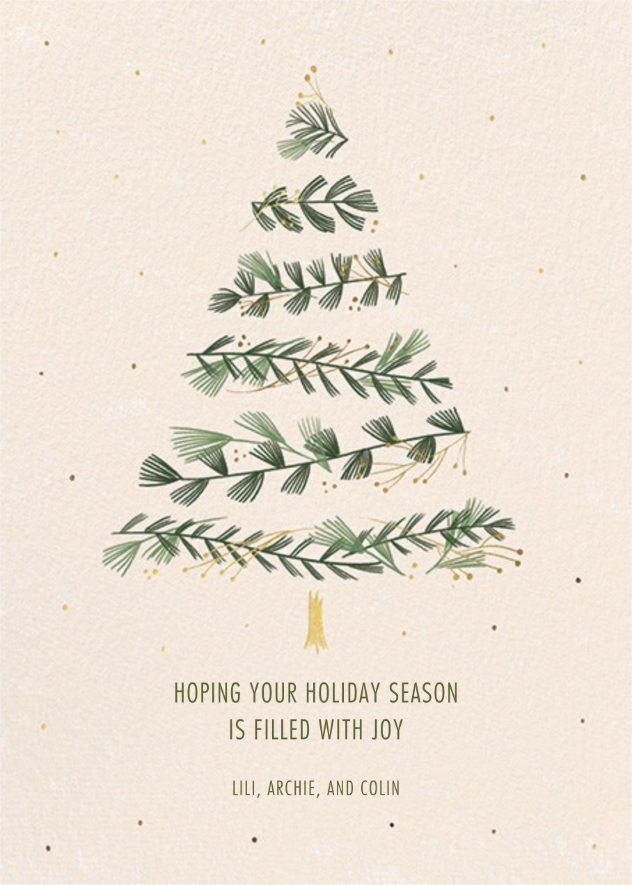 Gold Sprigs - Paperless Post - Holiday cards