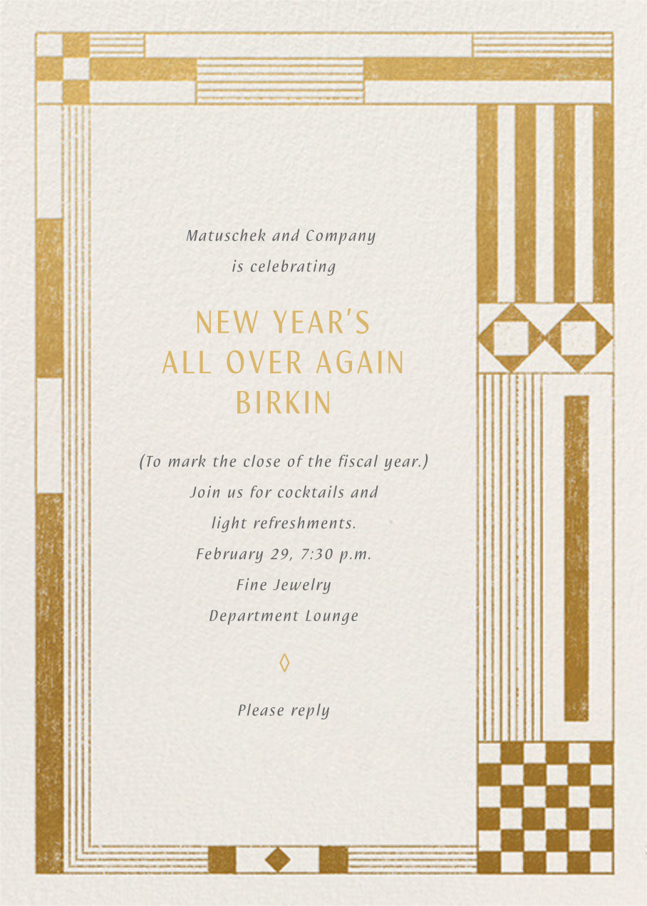 Deco Asymmetry - Gold - Paperless Post - Reception