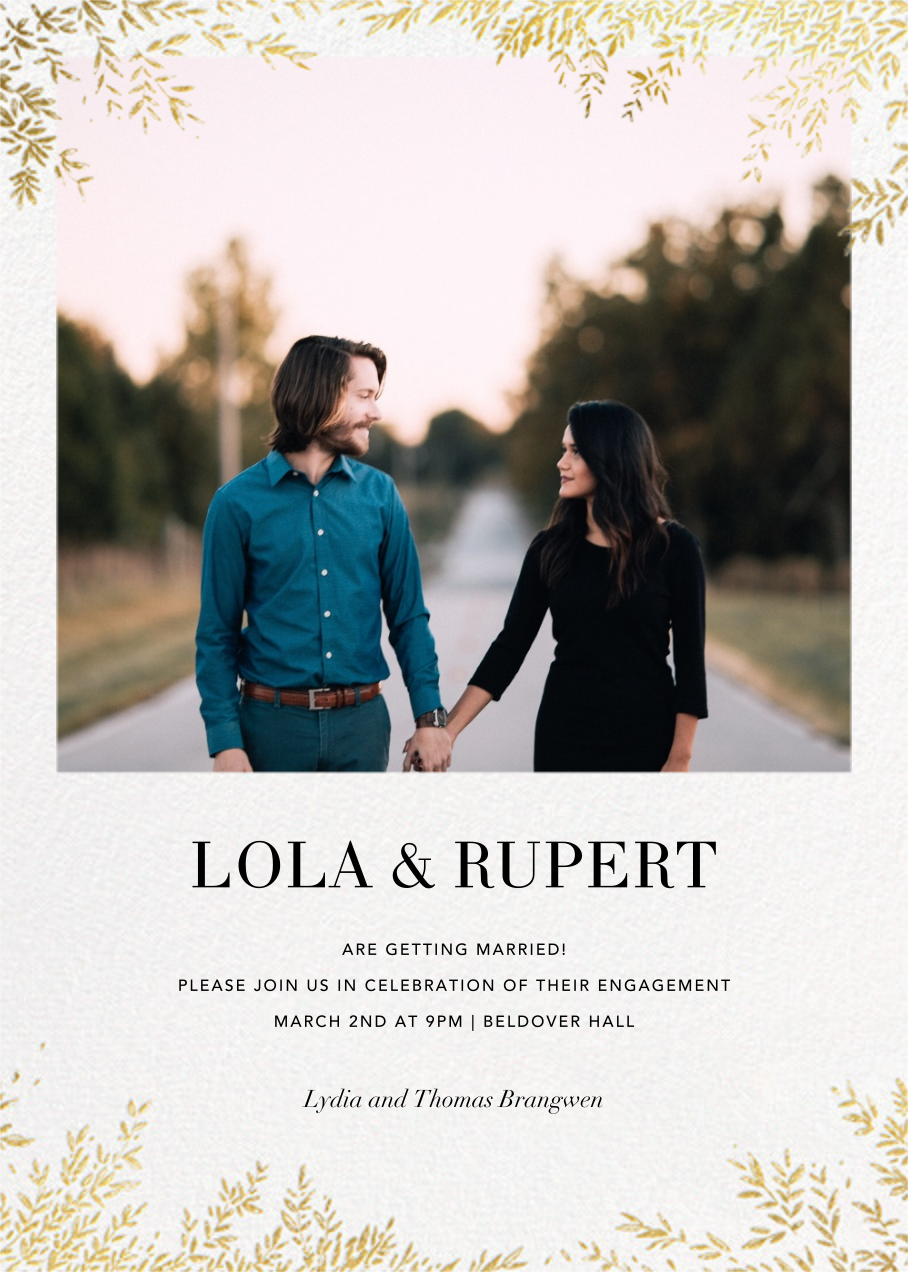 Leaves of Gold  - Paperless Post - Engagement party