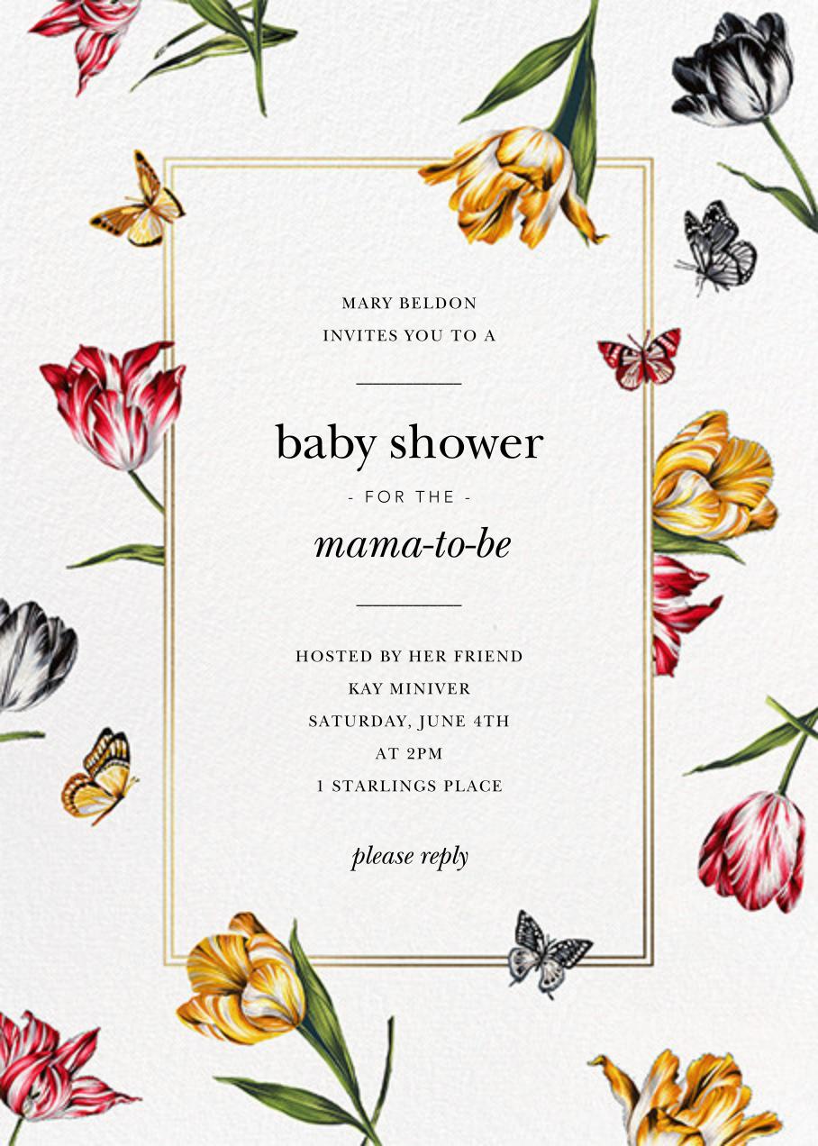 Striped Tulips - White - Oscar de la Renta - Baby shower