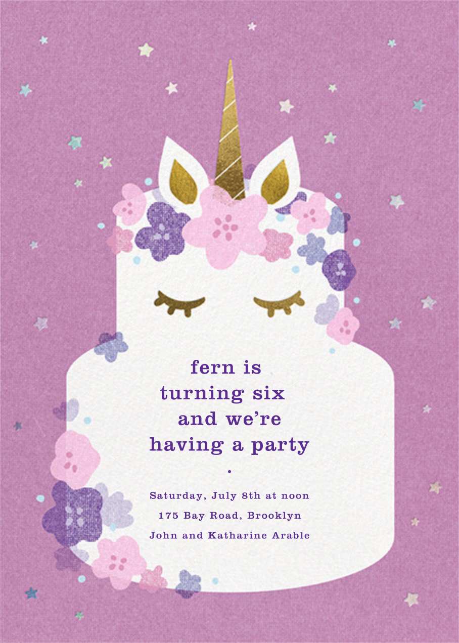 Unicorn Cake - Paperless Post - Unicorn invitations