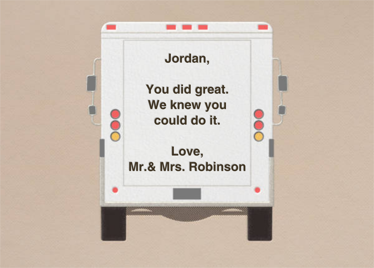 High Fives - Delivery Truck - Paperless Post - Graduation - card back