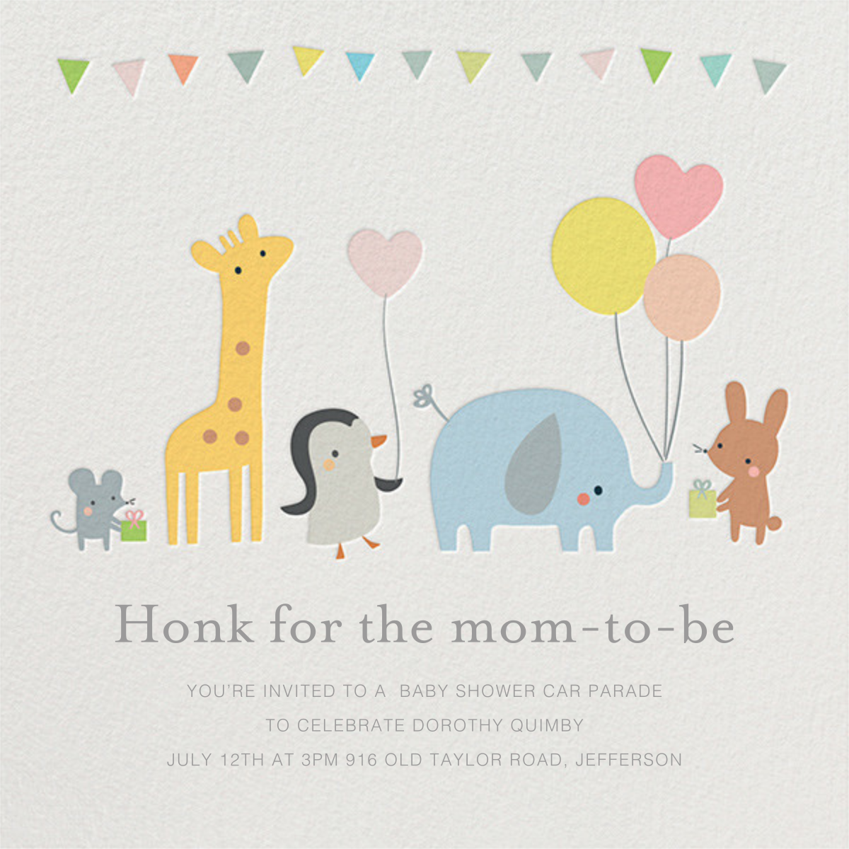 Party March - Little Cube - Woodland baby shower invitations