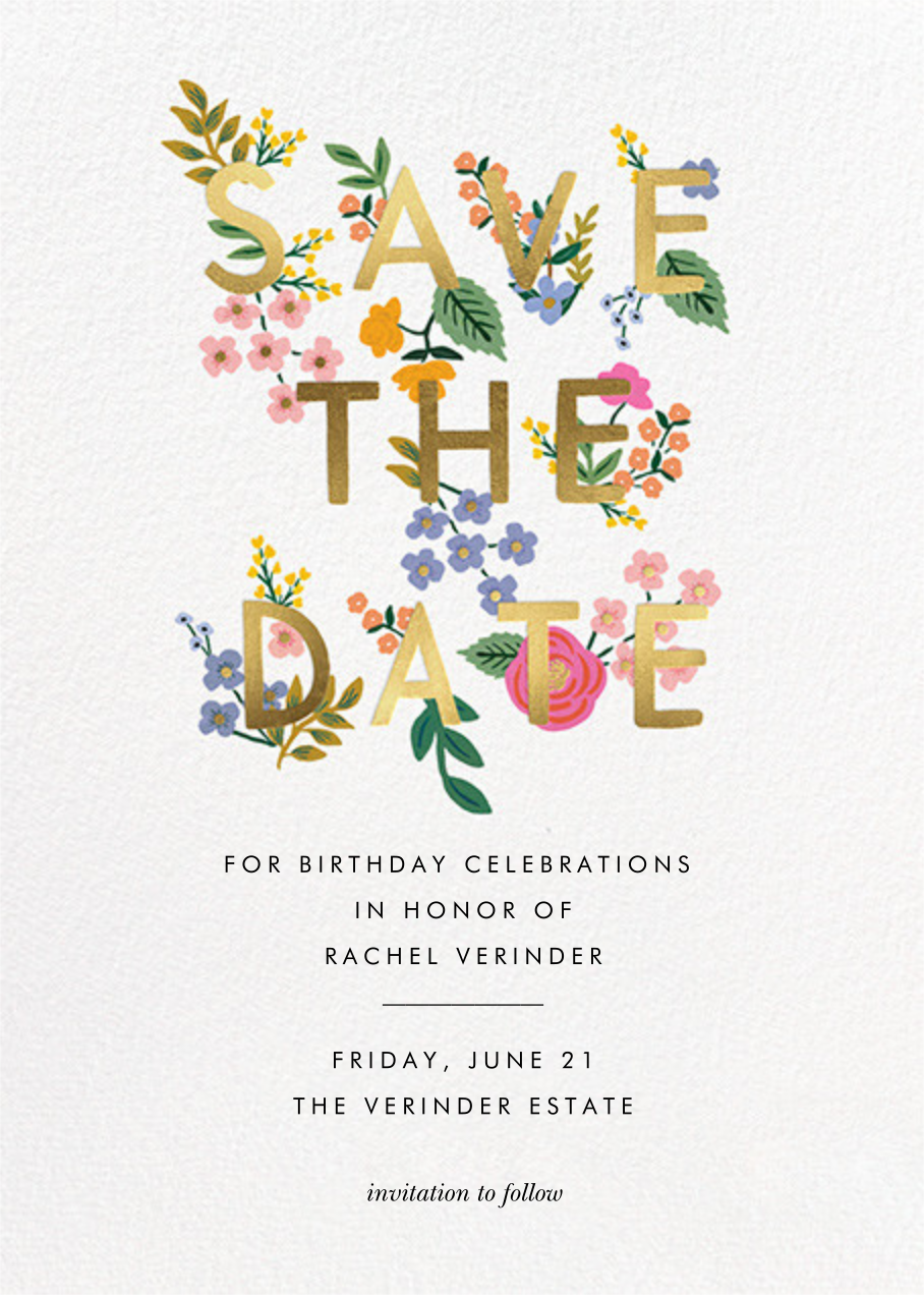 Posey - White - Rifle Paper Co. - Birthday save the dates