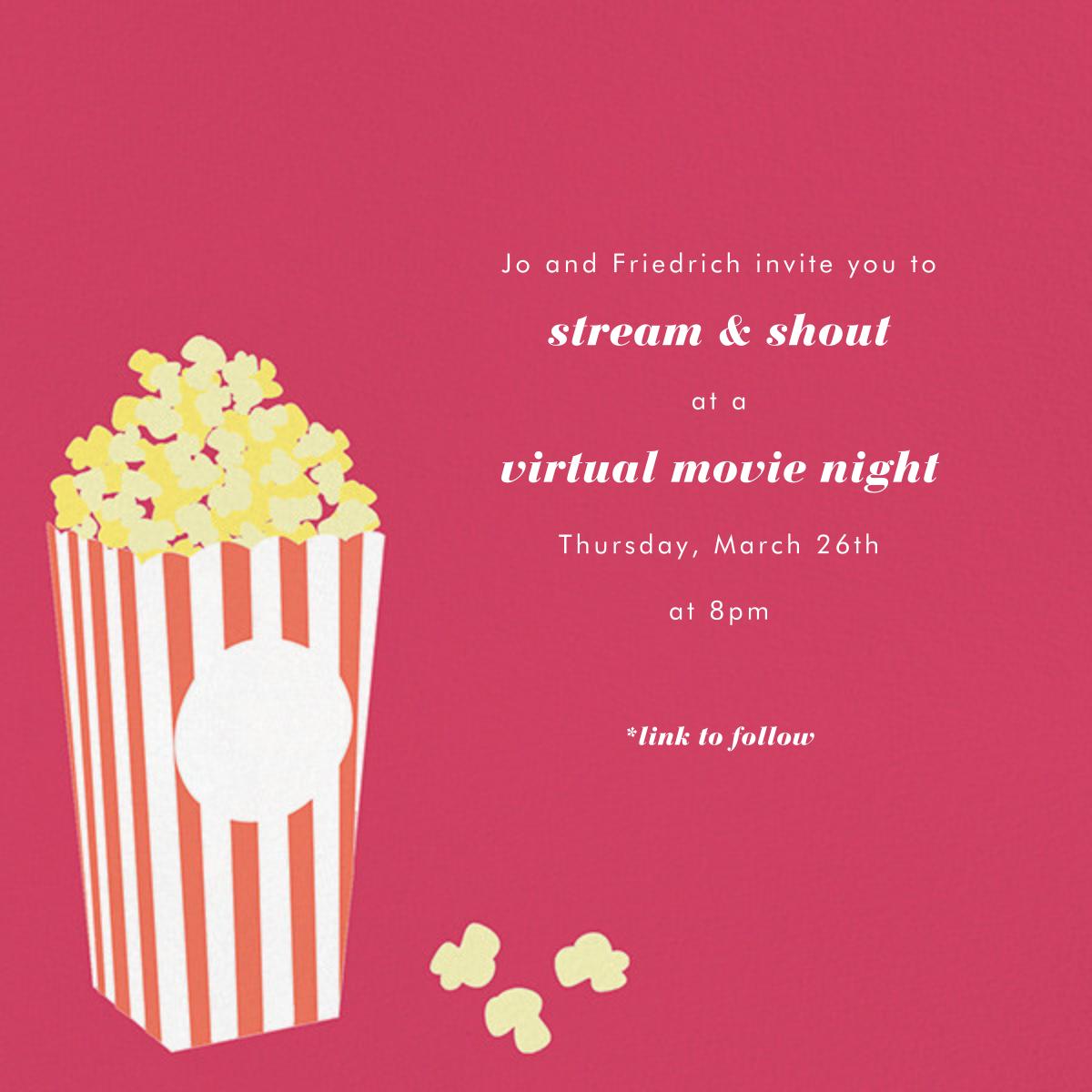 Bucket of Popcorn - Pink - Paperless Post - Virtual parties