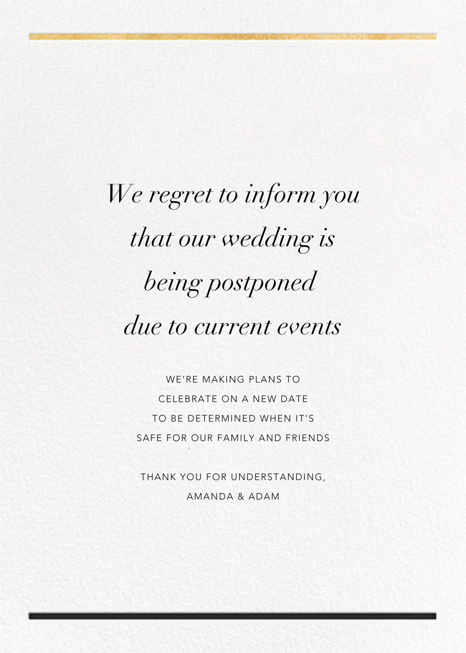 Aubette - Gold - Paperless Post - Wedding postponement