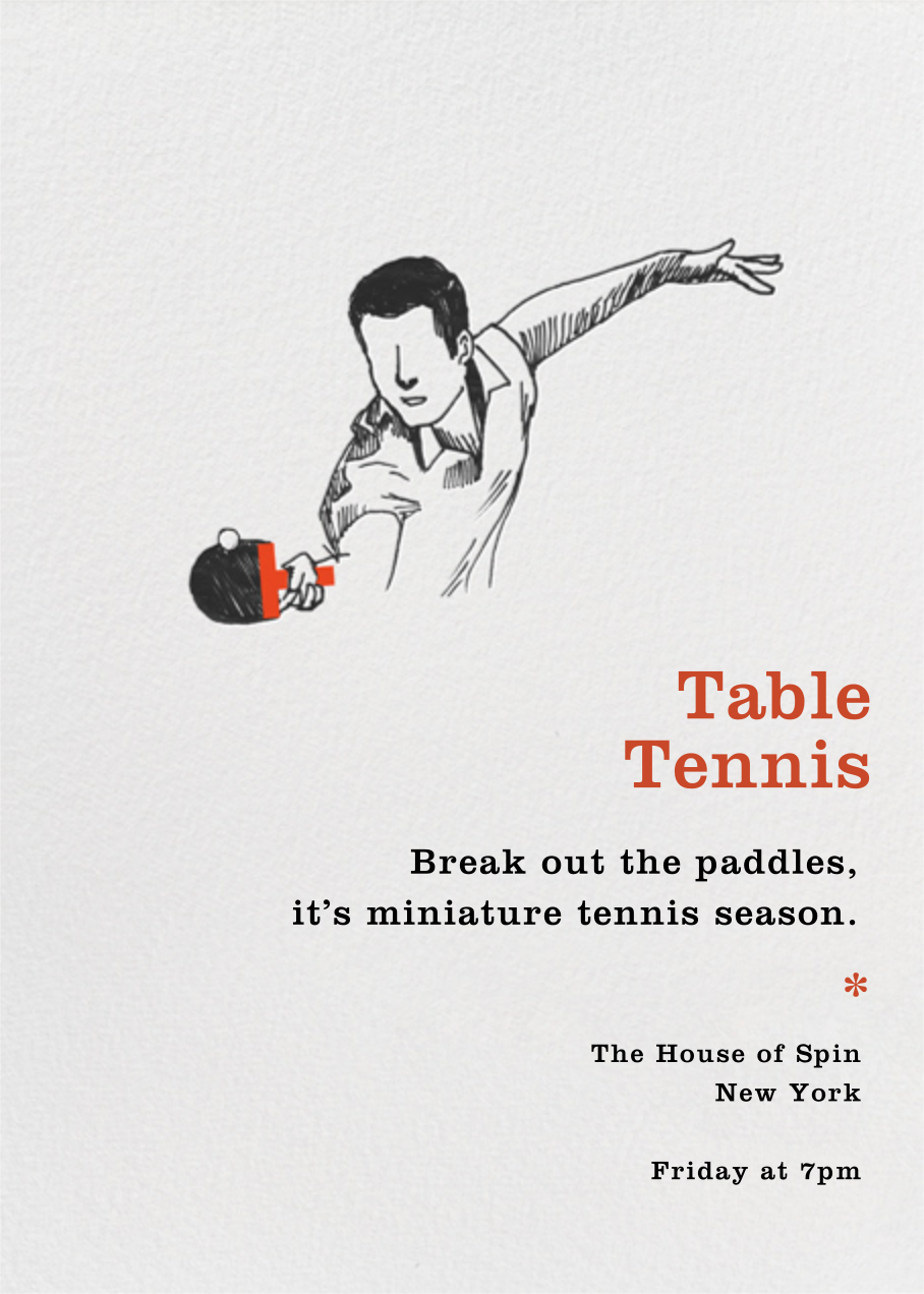 Table Tennis - Backspin - Paperless Post - Sports