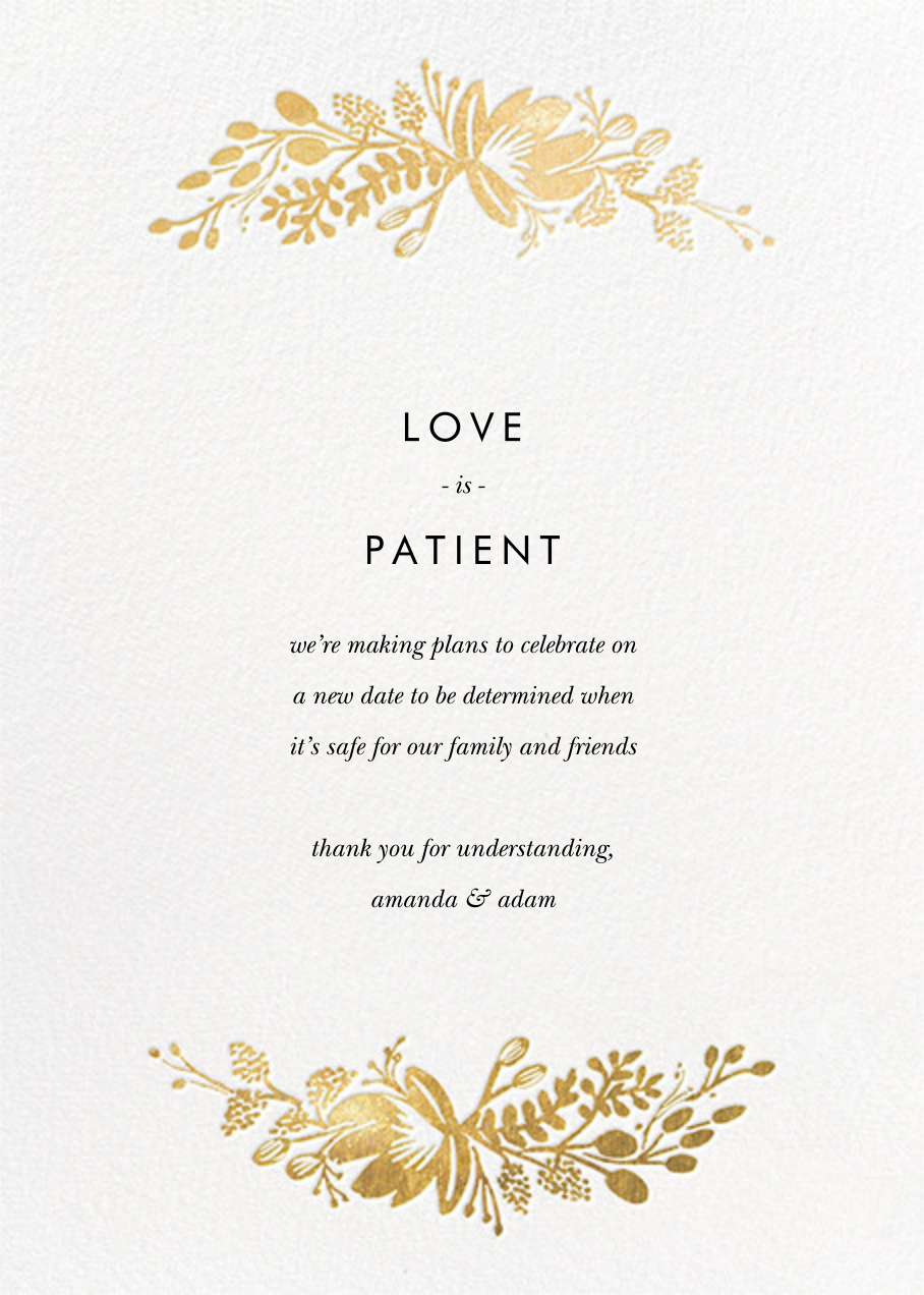 Floral Silhouette - White/Gold - Rifle Paper Co. - Wedding postponement