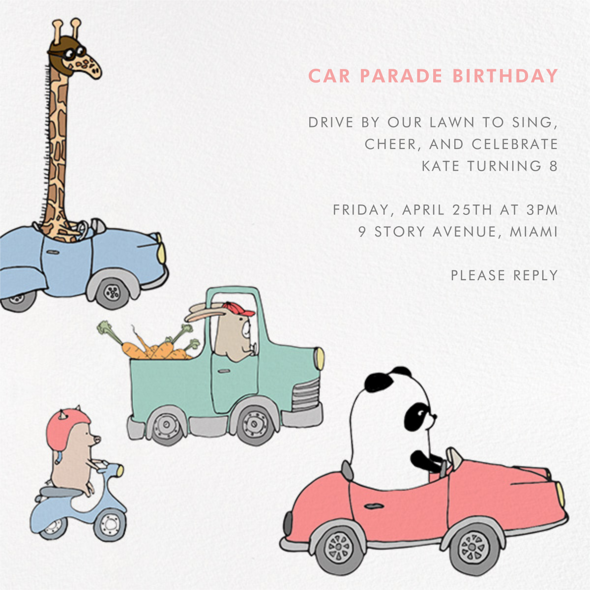 Automotive Animals - Paperless Post - Kids' birthday