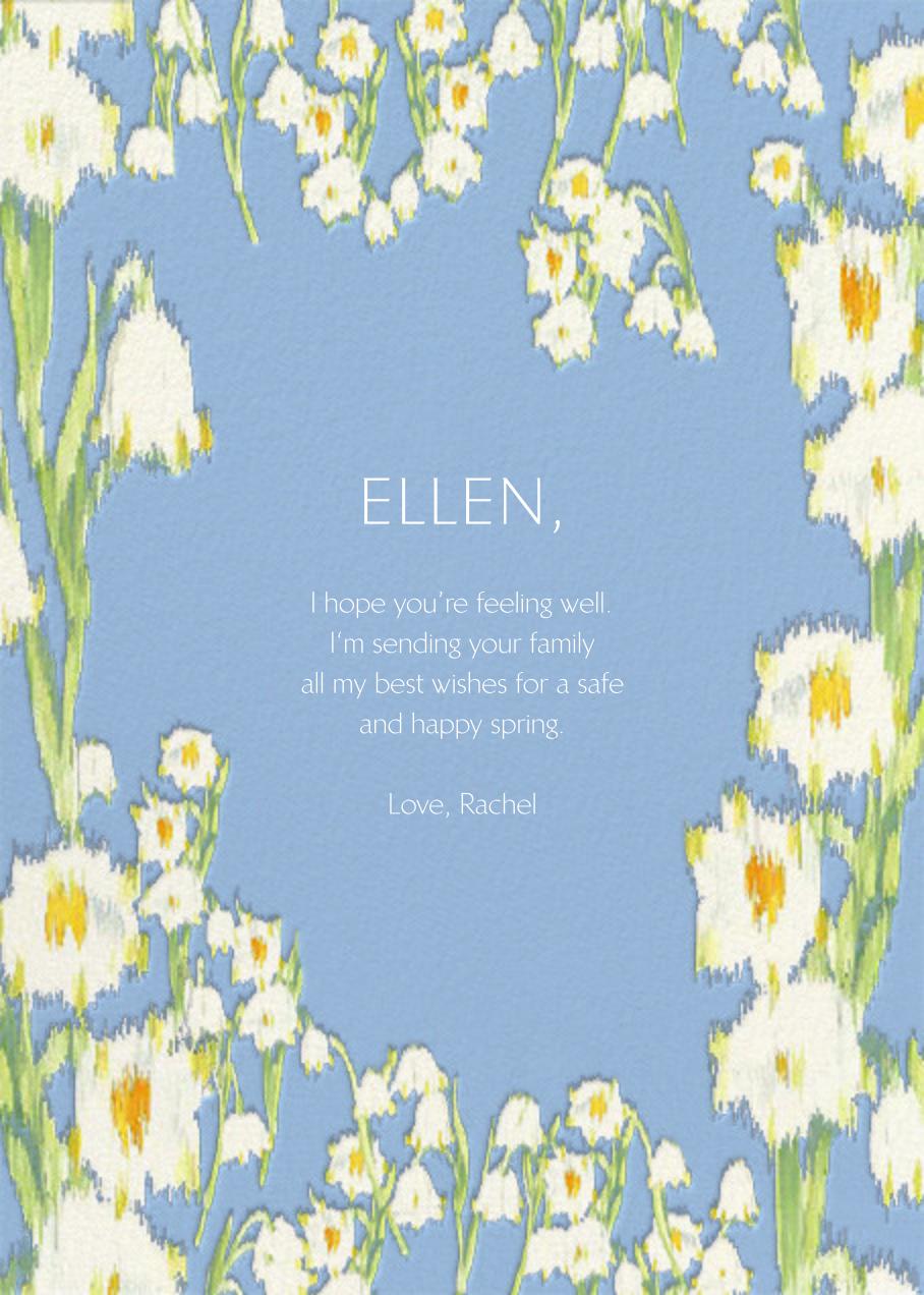 Garden Lilies (Greeting) - Blue - Carolina Herrera - Thinking of you - card back