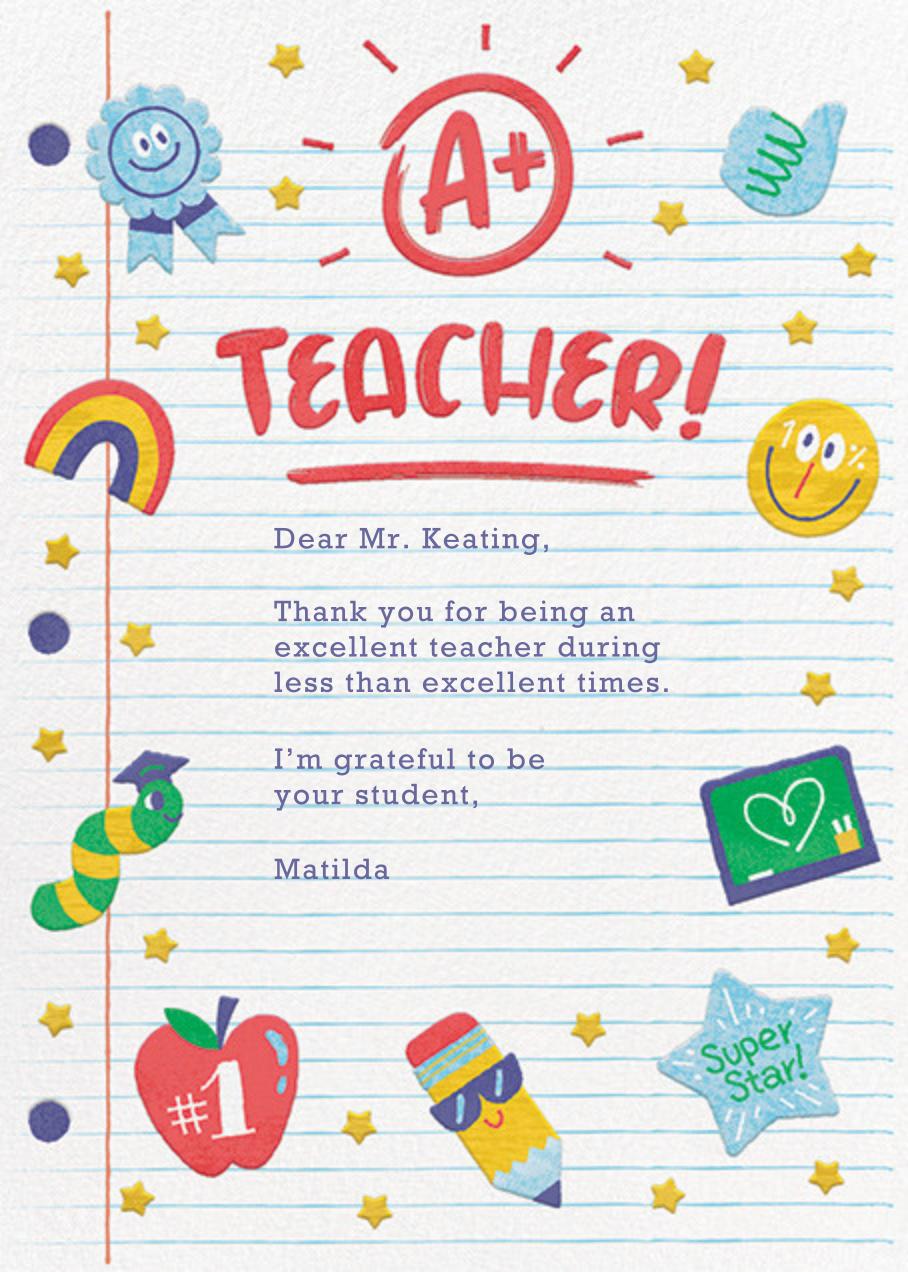 A+ Teacher - Paperless Post - Thank you