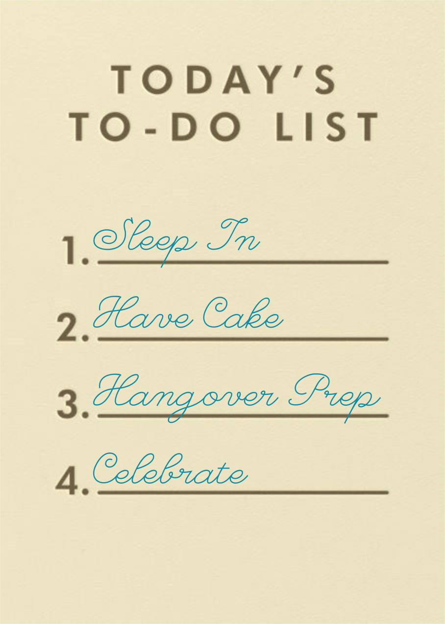 To-Do List - Paperless Post - Funny birthday eCards