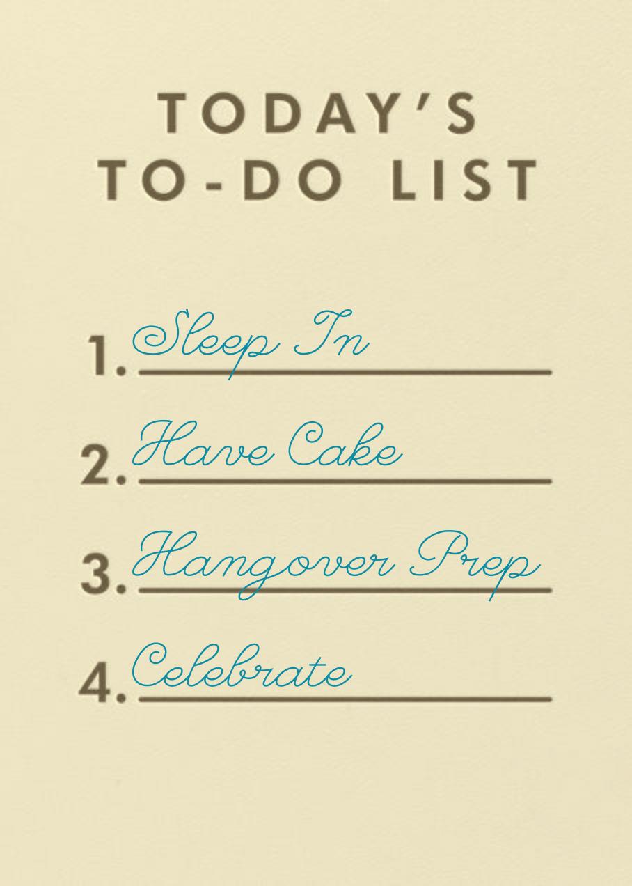 To-Do List - Paperless Post - Birthday