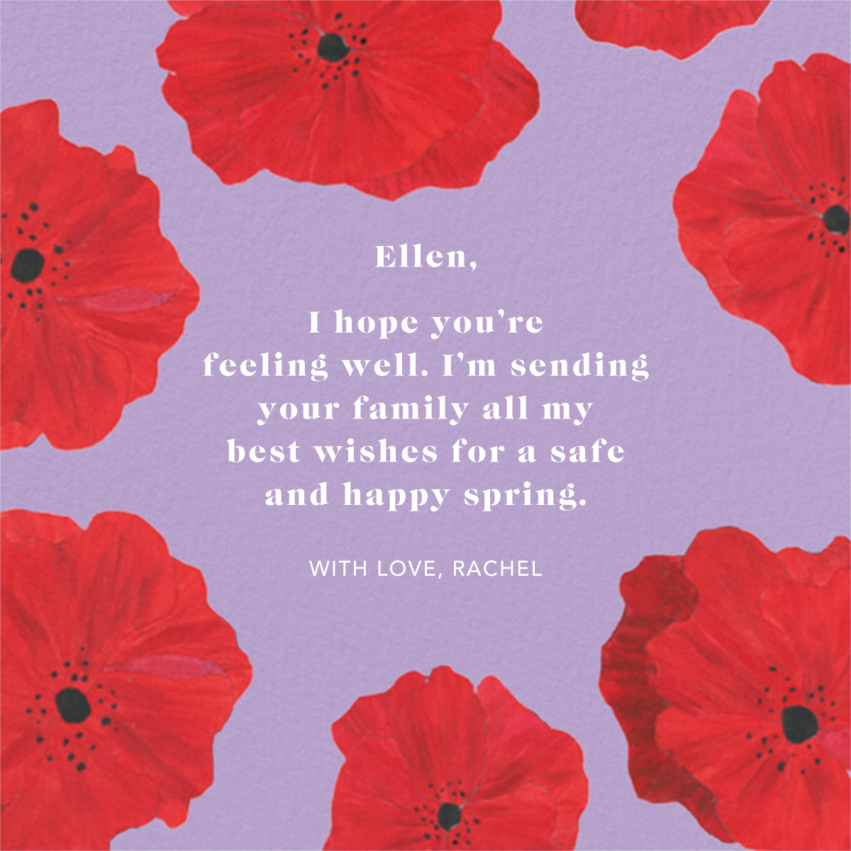 Red Petals - Lilac - Anthropologie - Thinking of you
