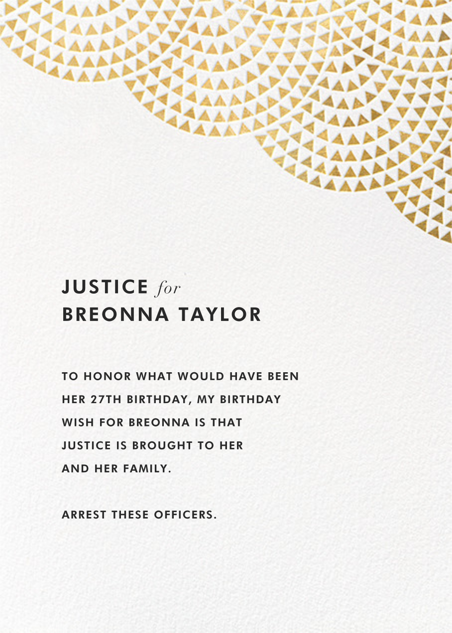 Savoy - Gold - Paperless Post - Breonna Taylor birthday cards