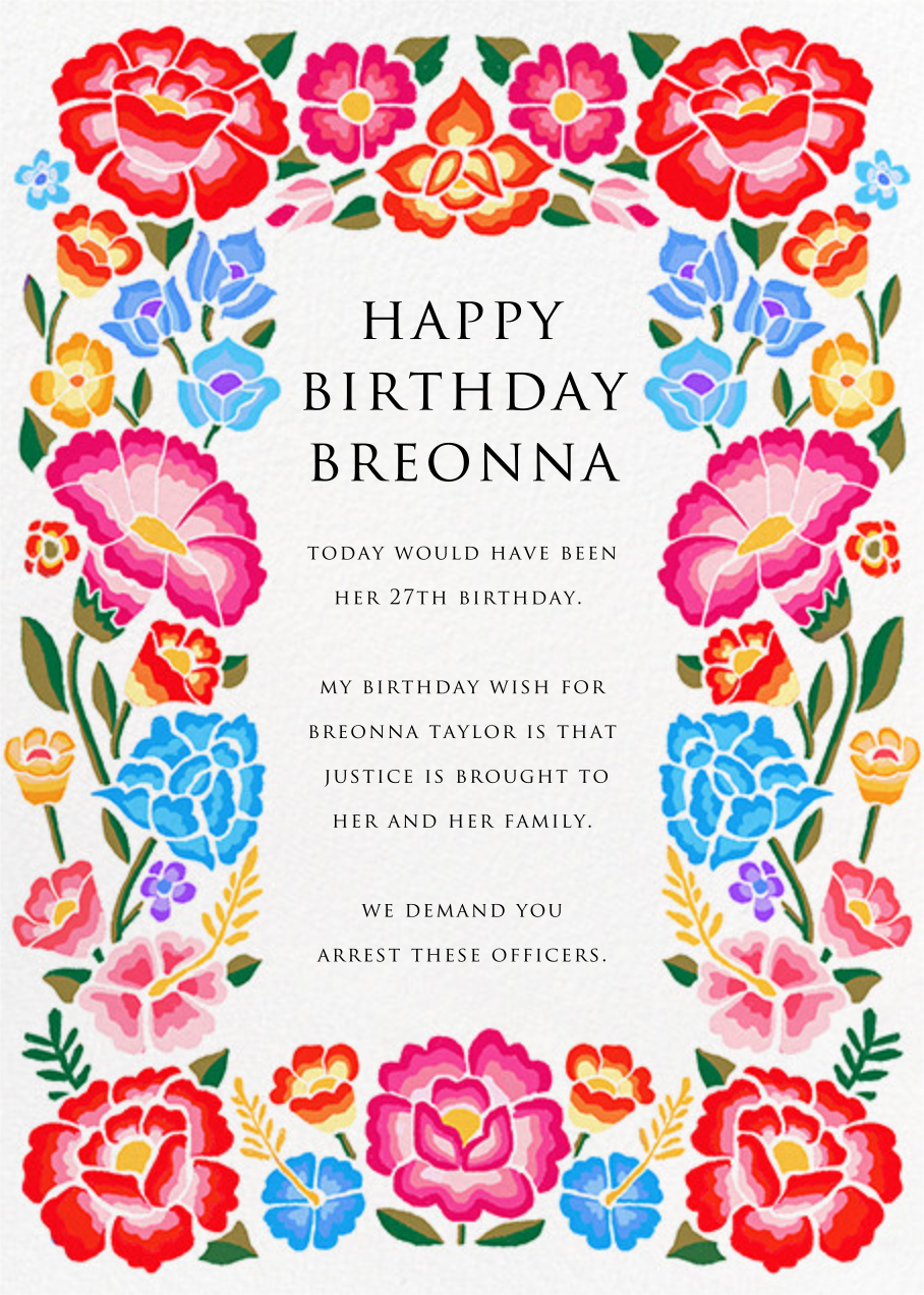 De Colores Fiesta - Paperless Post - Breonna Taylor birthday cards