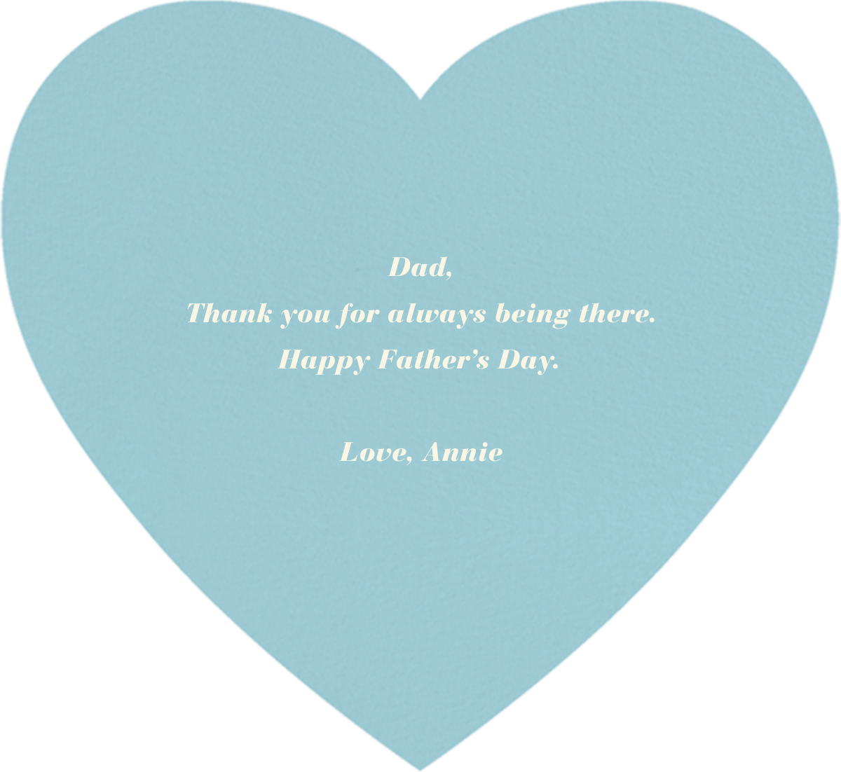 Full Bleed Heart - Blue - Paperless Post - Father's Day - card back