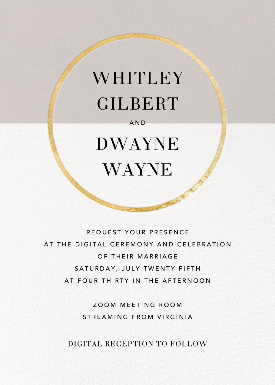Burgoyne (Invitation) - Oyster/Gold - Paperless Post - Virtual wedding
