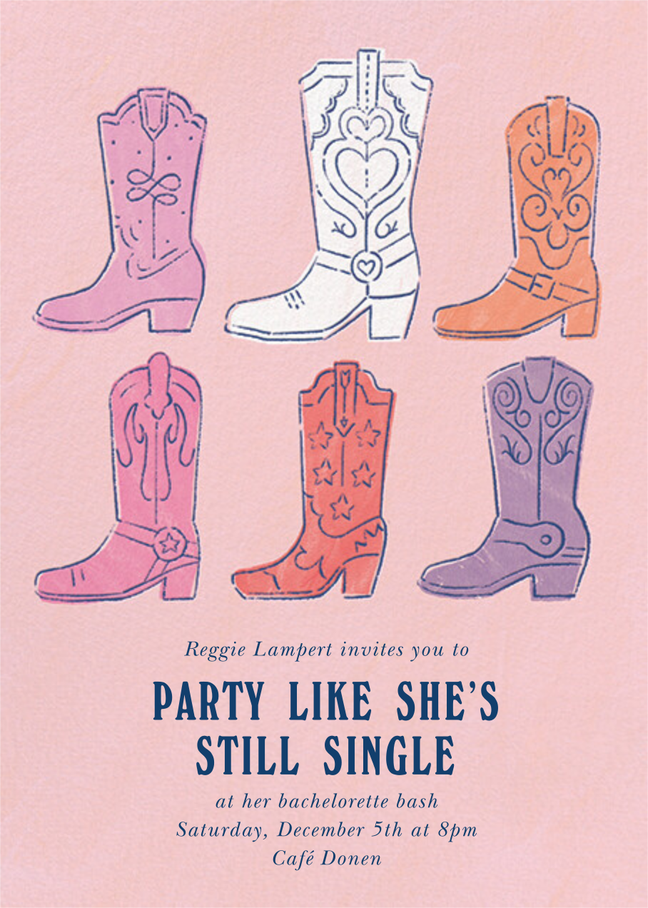 Boot Up - Paperless Post - Bachelorette party