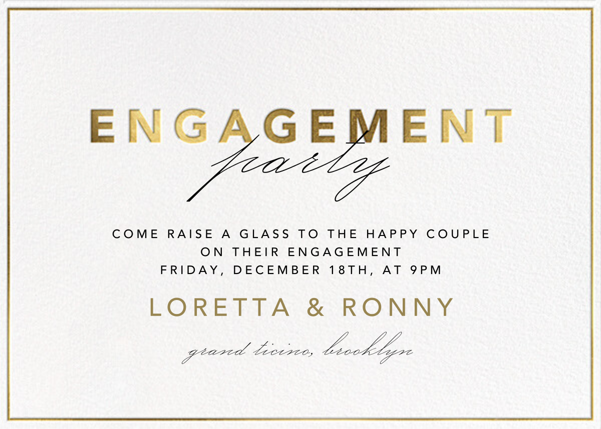 Shining Gold - Engagement - Paperless Post - Engagement party