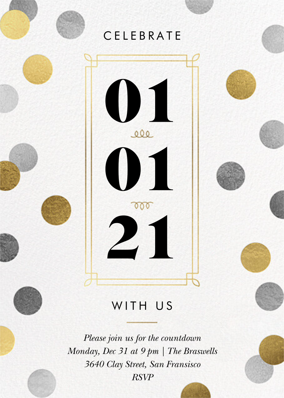 Confetti Date - White - Paperless Post - New Year's Eve