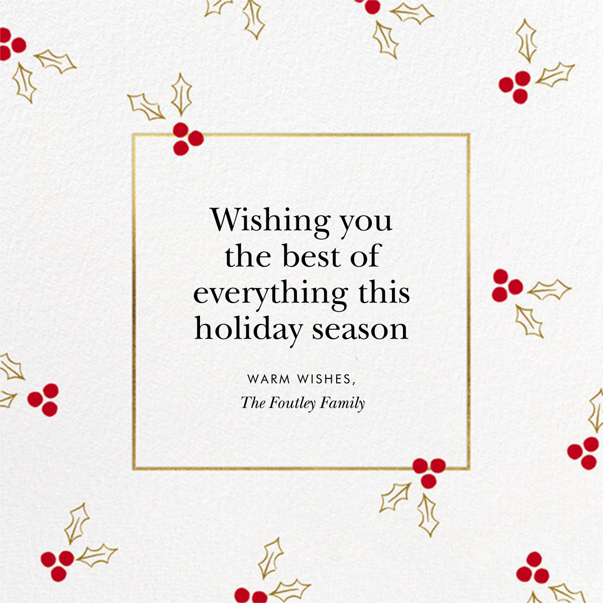 Golden Berries Photo - kate spade new york - Holiday cards - card back