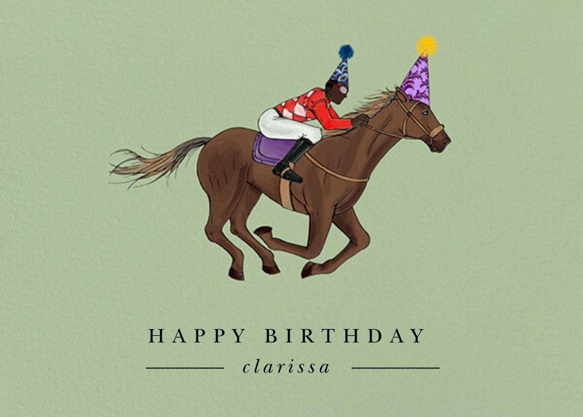 Thoroughbred Birthday - Sage/Deep - Paperless Post