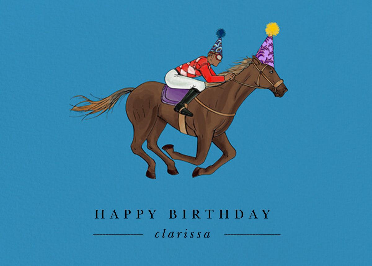 Thoroughbred Birthday - Robin'sEgg/Tan - Paperless Post