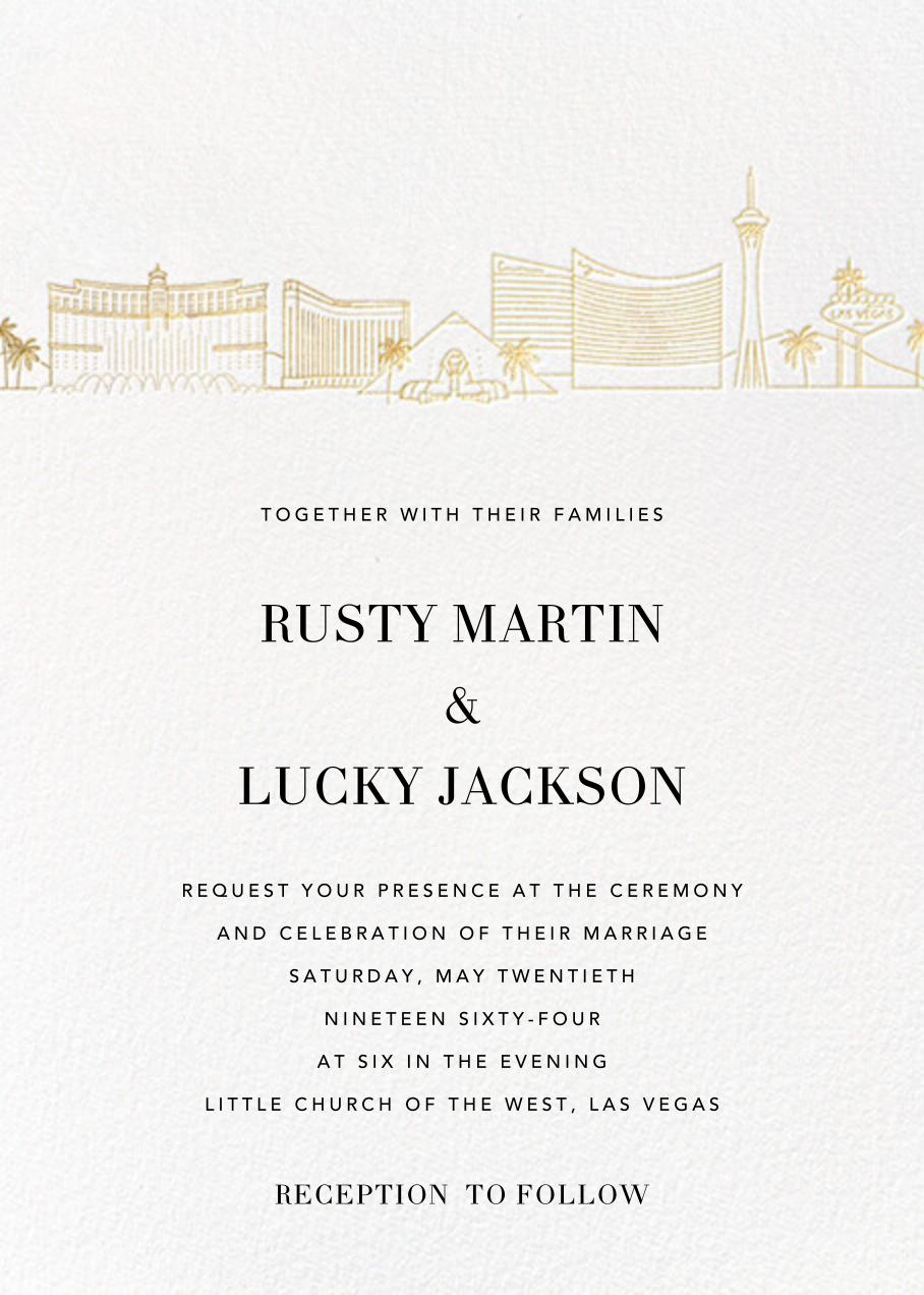 Las Vegas Skyline View (Invitation) - White/Gold - Paperless Post - All