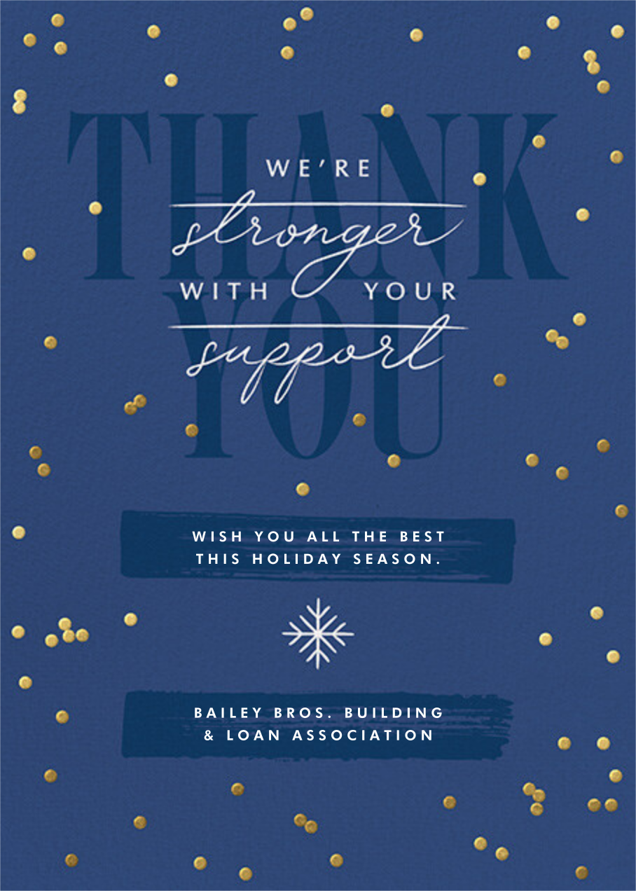 Golden Snow - Dark Blue - Paperless Post - Business holiday cards
