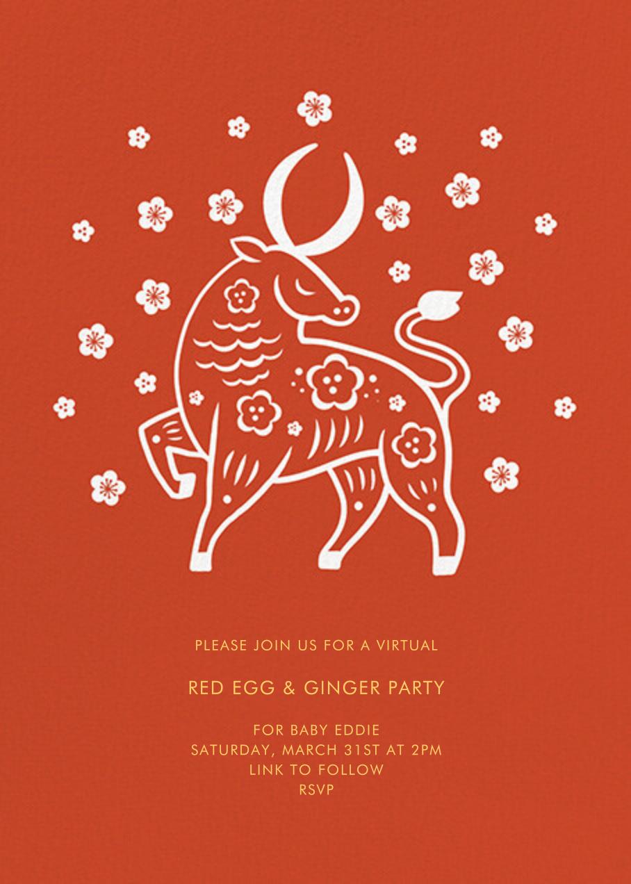 Cherry Blossom Ox (Invitation) - Paperless Post - Virtual parties