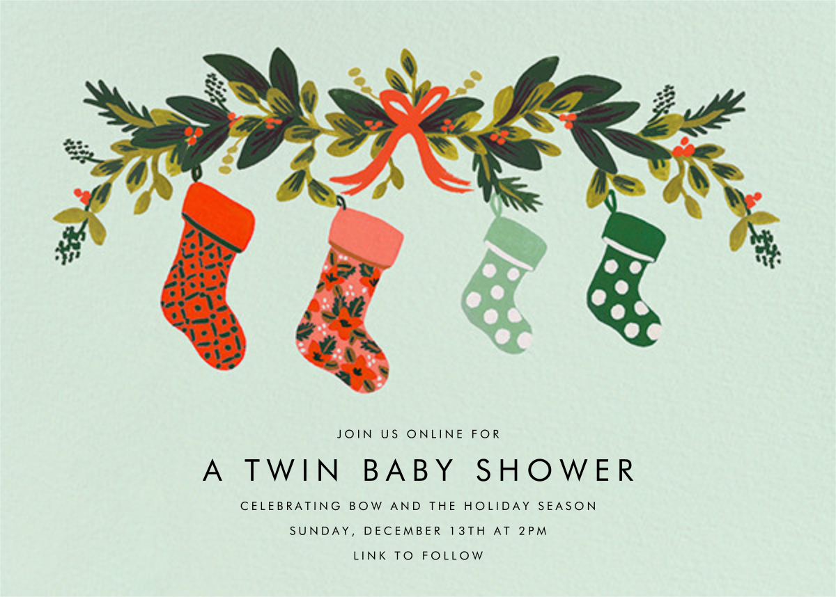 Family Stockings - Rifle Paper Co. - Christmas baby shower invitations