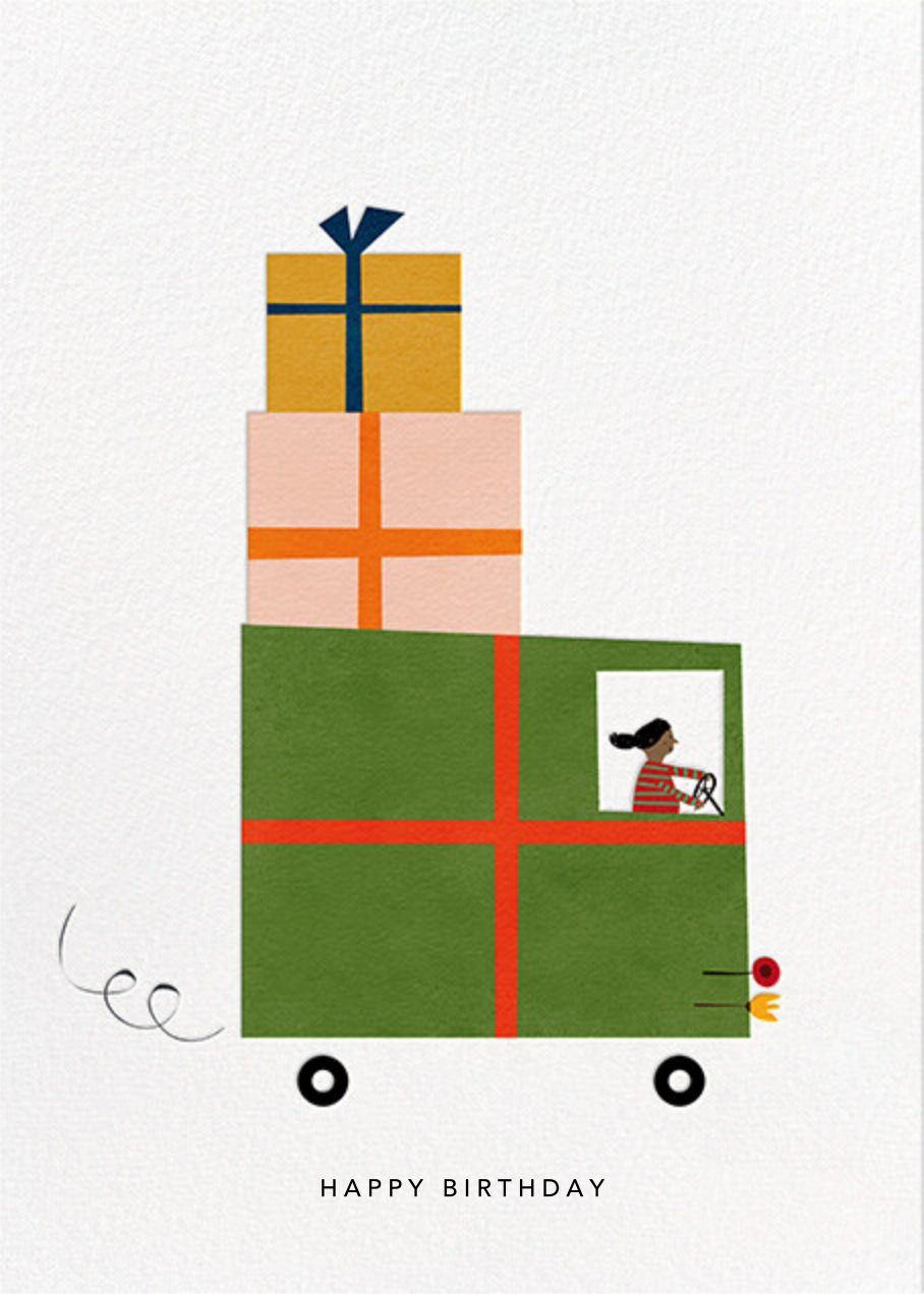 Gift Truck (Blanca Gómez) - Tan - Red Cap Cards - Birthday
