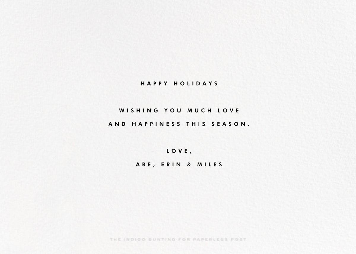 City Snow - Christmas - The Indigo Bunting - Christmas - card back