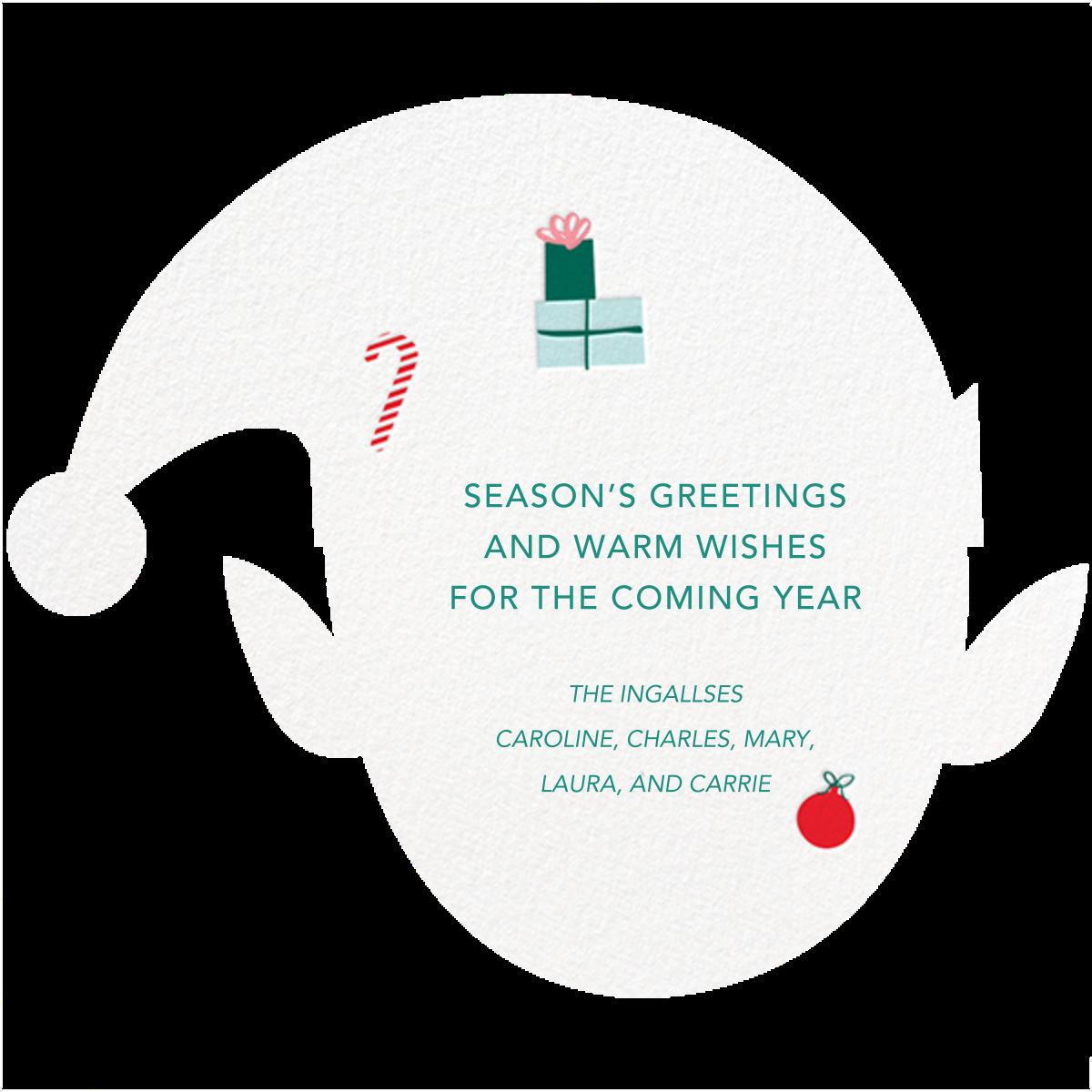 Blushing Elf - Deep - Meri Meri - Holiday cards - card back