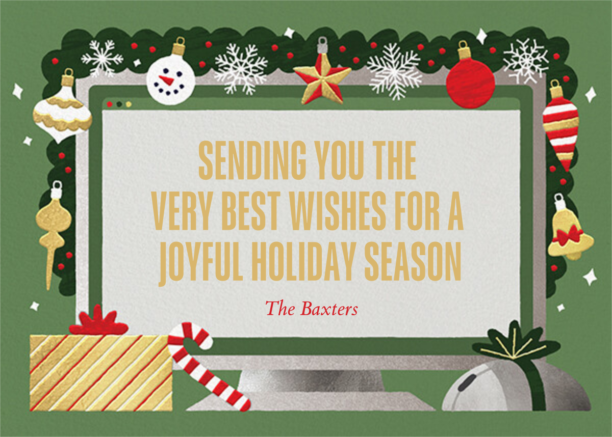 Home Screen (6 Photos) - Green - Paperless Post - Holiday cards - card back