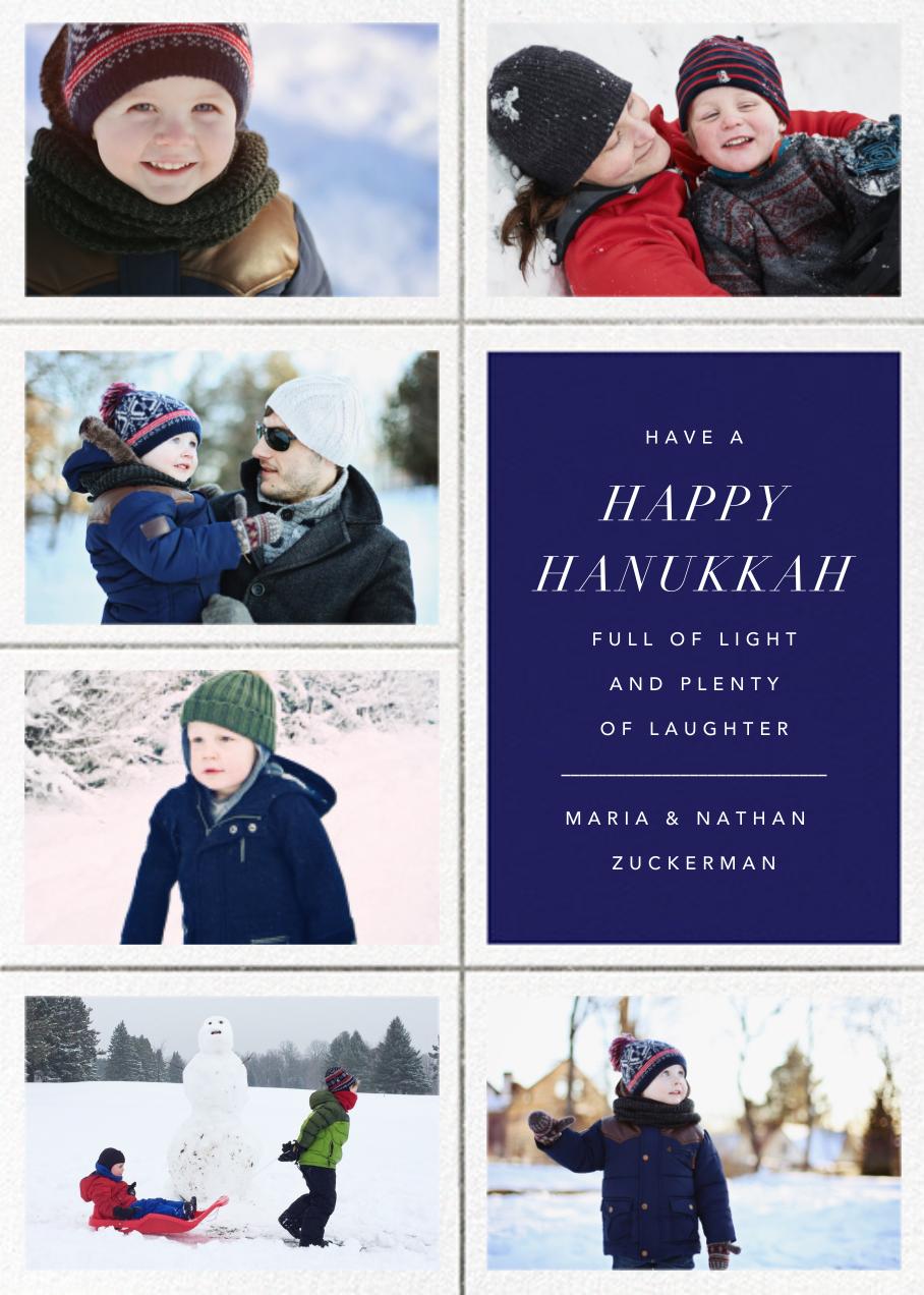 Quint (6 Photos) - Royal Blue/ Silver - Paperless Post - Hanukkah