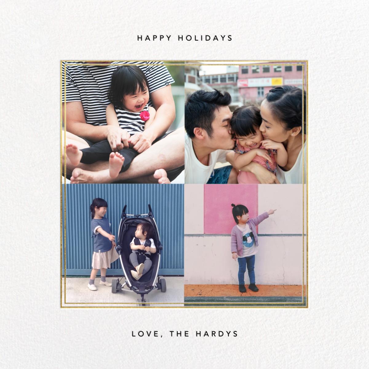Quadrata (4 Photos) - Gold - Paperless Post - Holiday cards