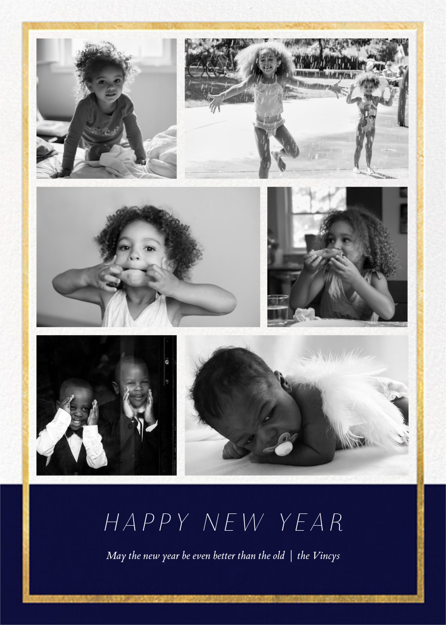 Panneaux (6 Photos) - Midnight/Gold - Paperless Post - New Year