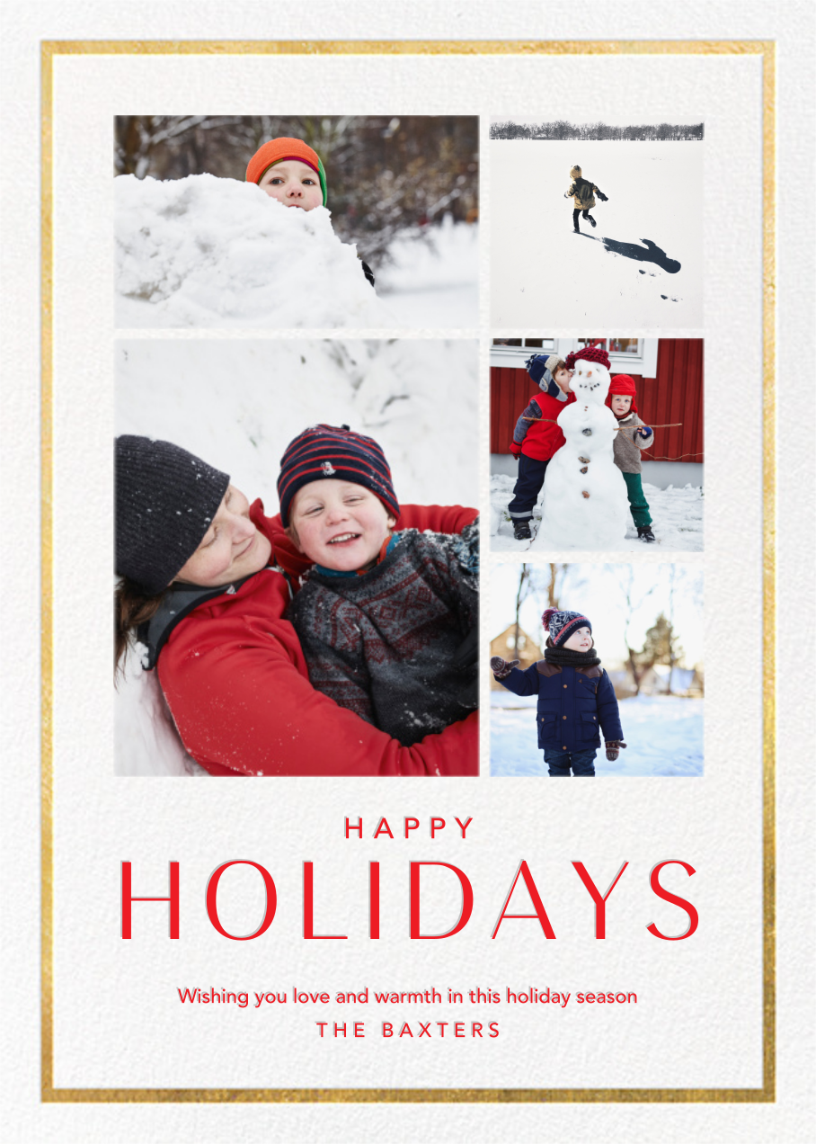 Holiday Finestra (Tall, 5 Photos) - White/Gold - Paperless Post - Holiday cards