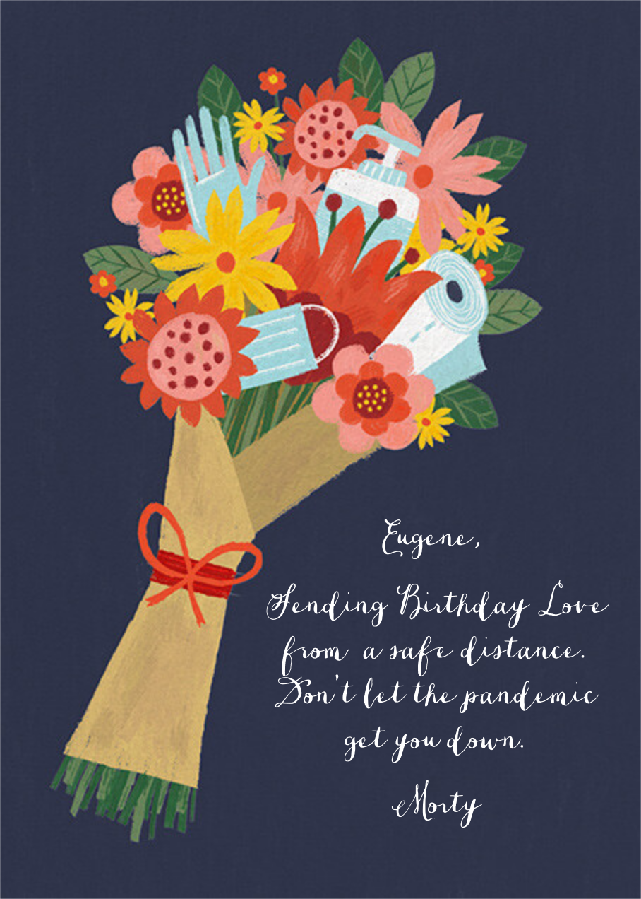 Sanitized Bouquet - Navy - Paperless Post - Birthday