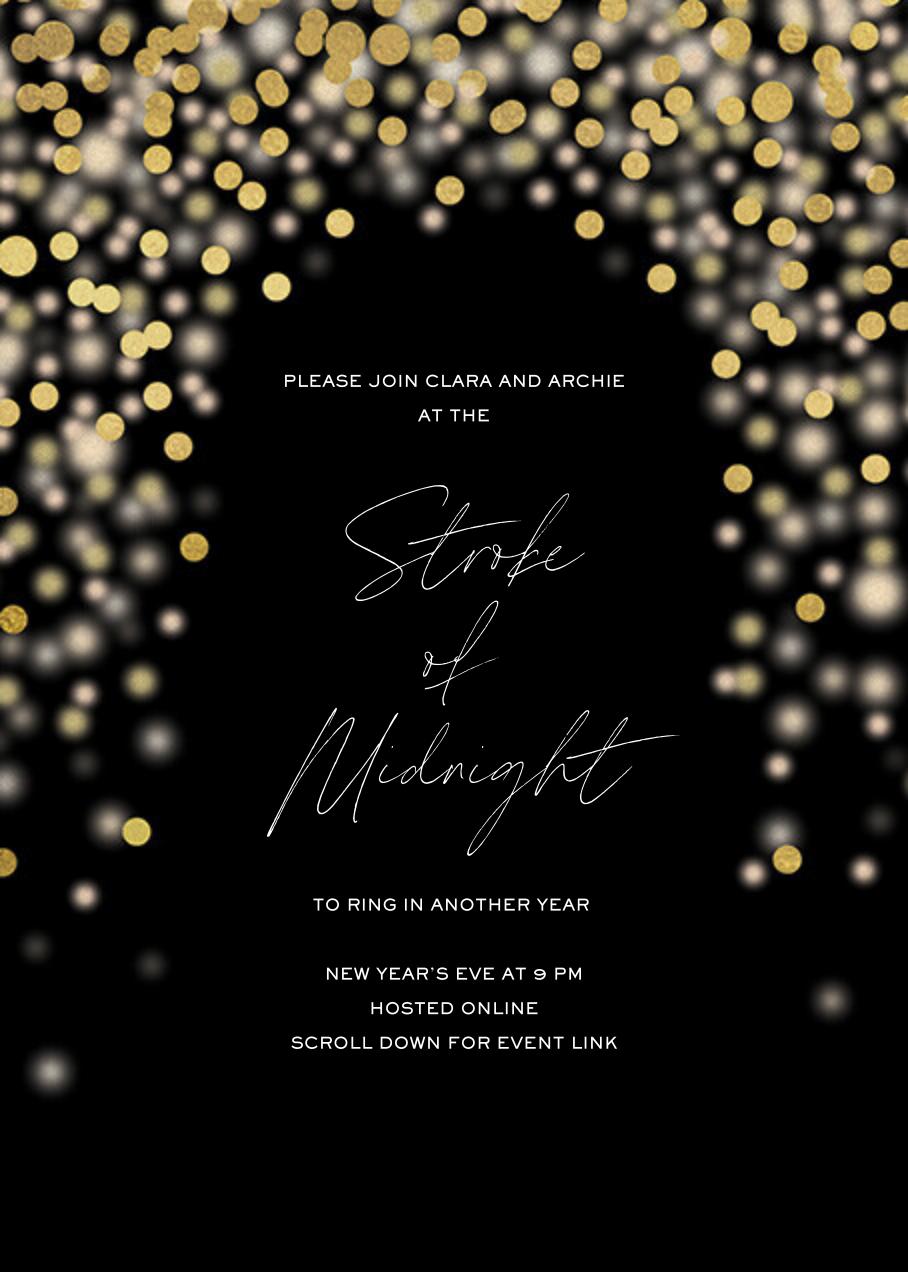 Sparkle Lights (Invitation) - Black - Paperless Post - New Year's Eve