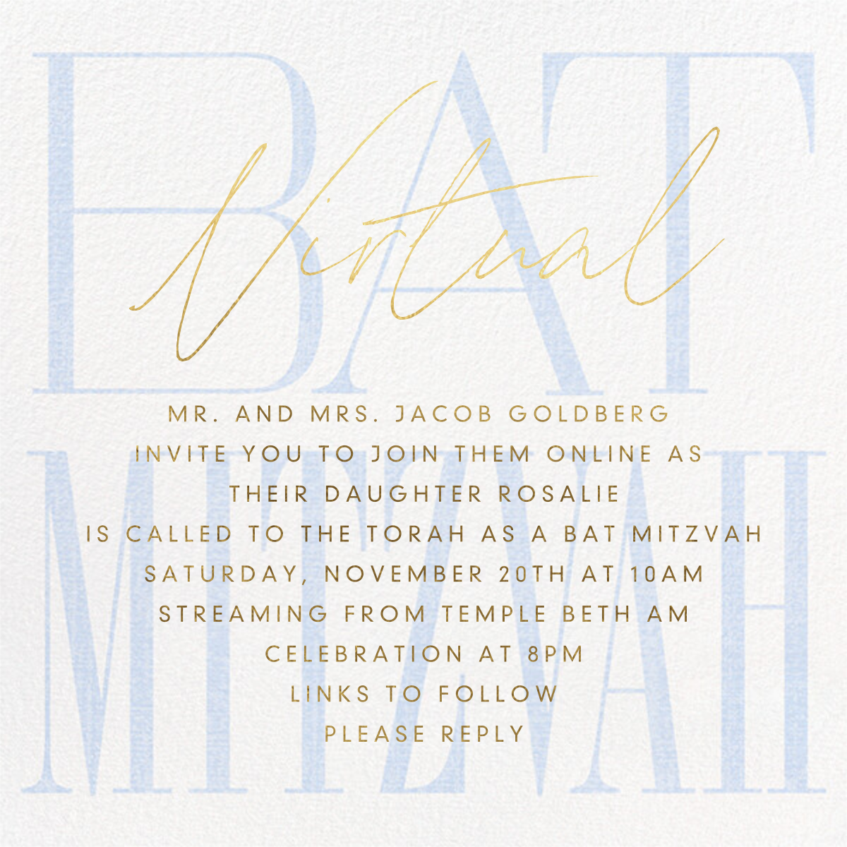 Virtual Mitzvah (Bat) - Blue - Paperless Post - Bat and bar mitzvah