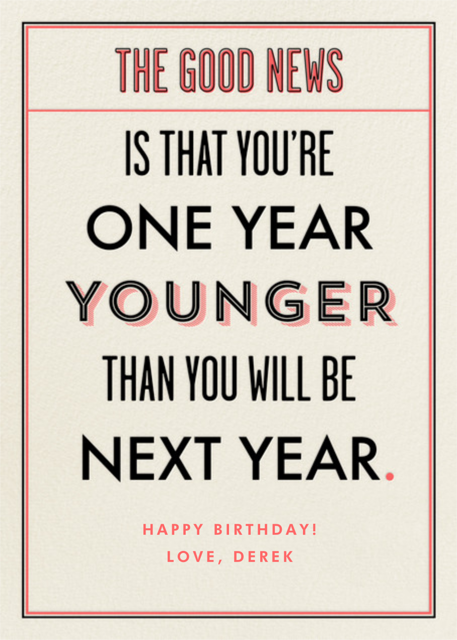 You're a Year Younger than Next Year - Derek Blasberg - Cameo